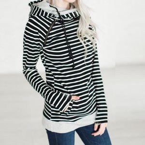 Tops - Black striped hoodie